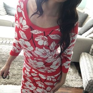 New York & Co Red Floral Skirt Sweater Set Small